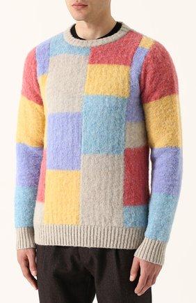 Пуловер из шерсти тонкой вязки с контрастной отделкой   Фото №3