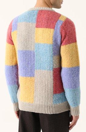 Пуловер из шерсти тонкой вязки с контрастной отделкой   Фото №4