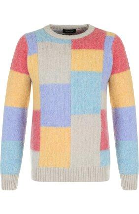 Пуловер из шерсти тонкой вязки с контрастной отделкой Howlin разноцветный | Фото №1
