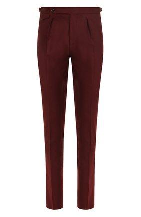 Шерстяные брюки прямого кроя PT01 бордовые | Фото №1