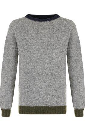 Пуловер из шерсти тонкой вязки с контрастной отделкой | Фото №1