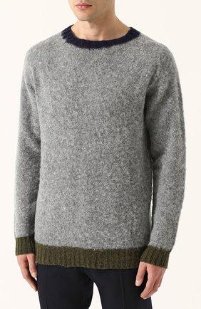 Пуловер из шерсти тонкой вязки с контрастной отделкой | Фото №3