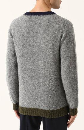 Пуловер из шерсти тонкой вязки с контрастной отделкой | Фото №4