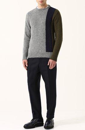 Пуловер из шерсти тонкой вязки с контрастной отделкой Howlin серый | Фото №1