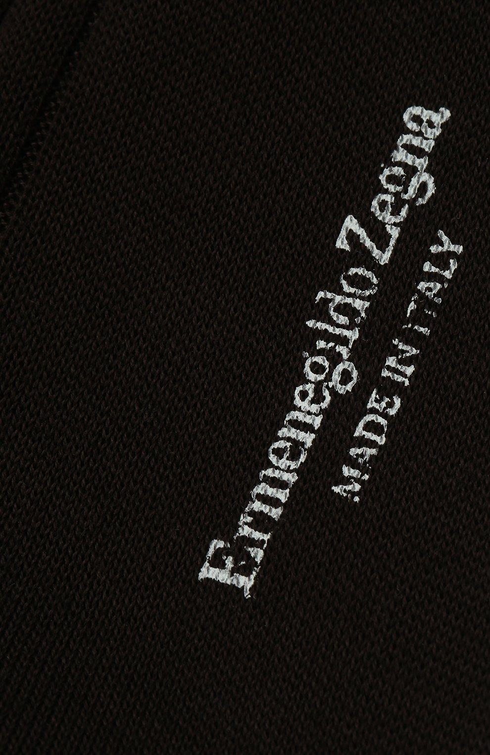 Мужские хлопковые носки ERMENEGILDO ZEGNA коричневого цвета, арт. N4V400010 | Фото 2