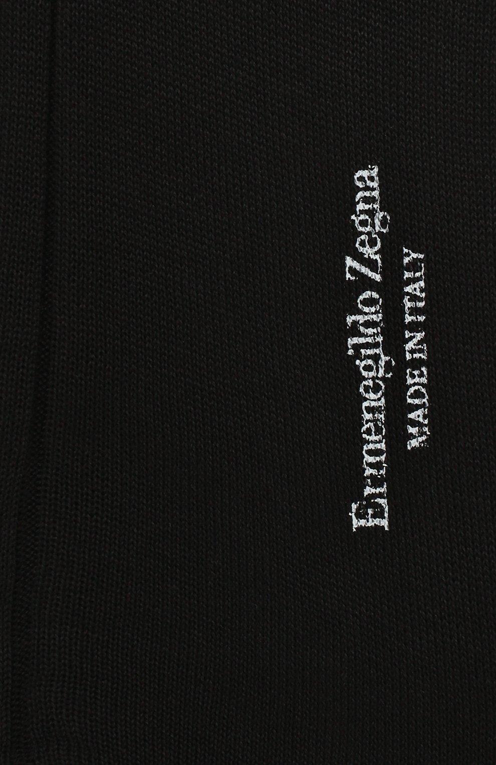 Мужские хлопковые носки ERMENEGILDO ZEGNA черного цвета, арт. N4V400010   Фото 2