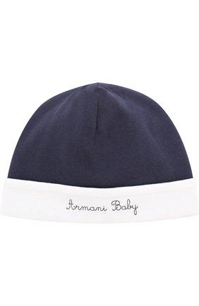 Хлопковая шапка с контрастной отделкой   Фото №1