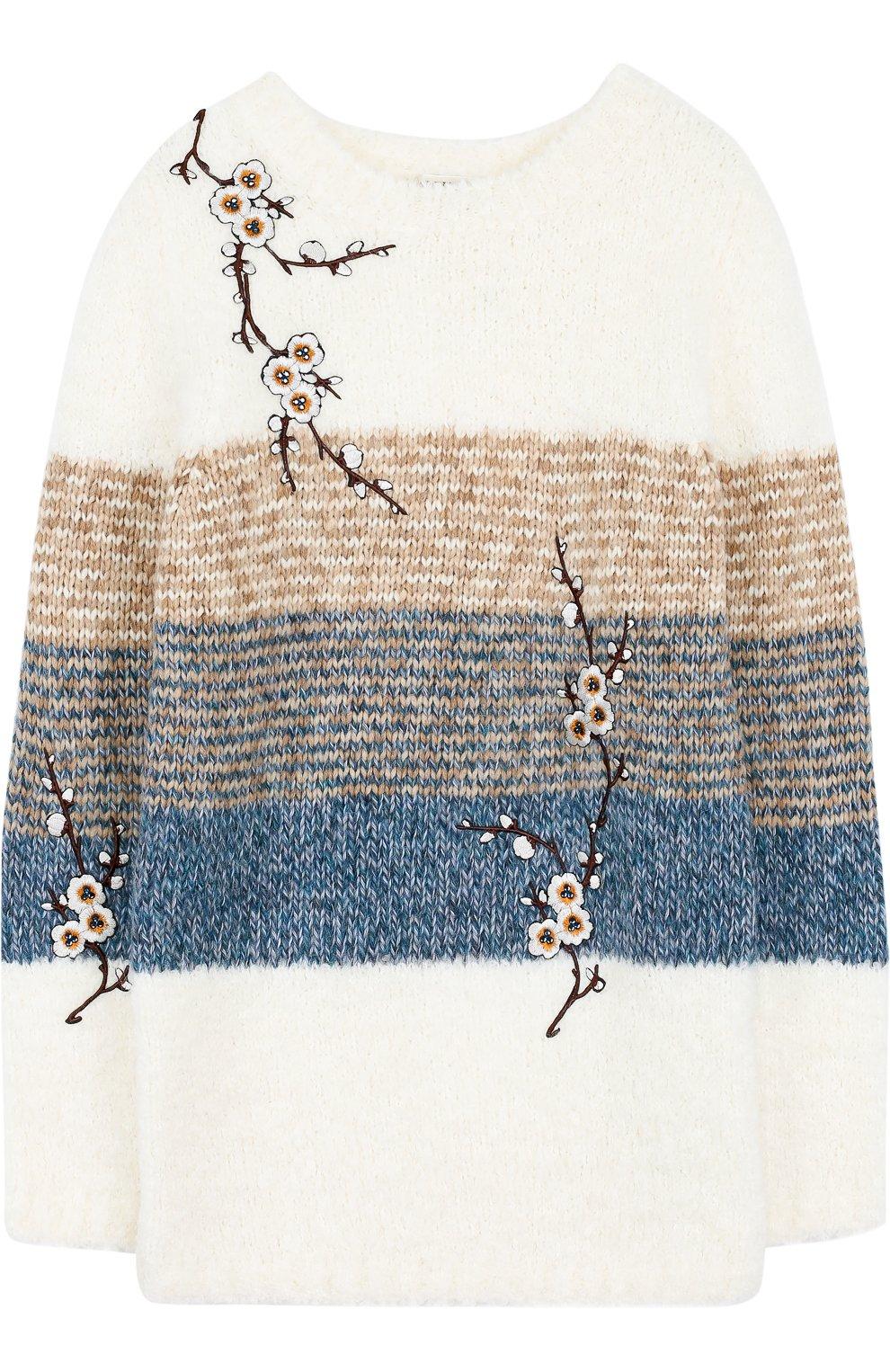 детский вязаный свитер с цветочной вышивкой Twinset разноцветного