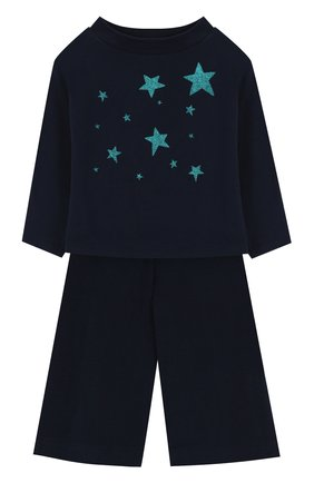 Детский хлопковый костюм с принтом IL GUFO синего цвета, арт. A17DP2STM0019/5A-8A | Фото 1