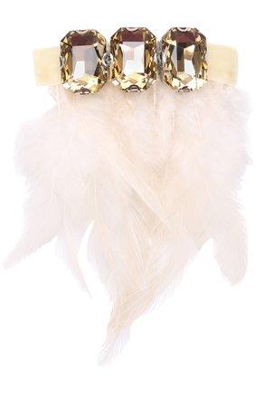 Заколка с отделкой из кристаллов и перьев | Фото №1