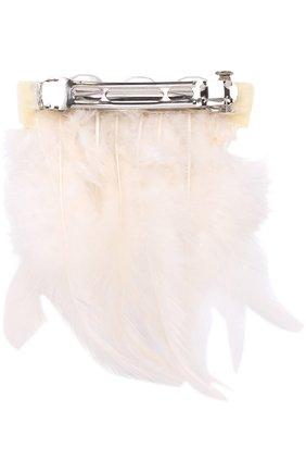 Детская заколка с отделкой из кристаллов и перьев QUIS QUIS кремвого цвета, арт. 52747 | Фото 2