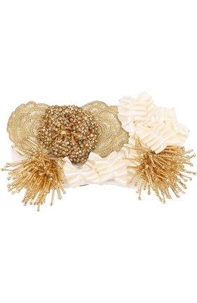 Декоративная повязка для головы с аппликациями и бисером | Фото №1