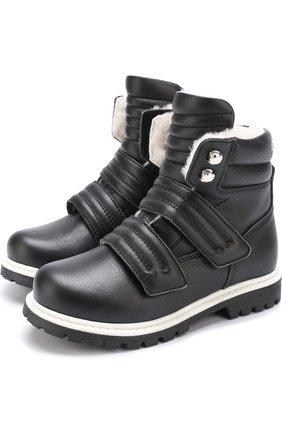 Кожаные ботинки с внутренней отделкой из овчины и застежками велькро   Фото №1