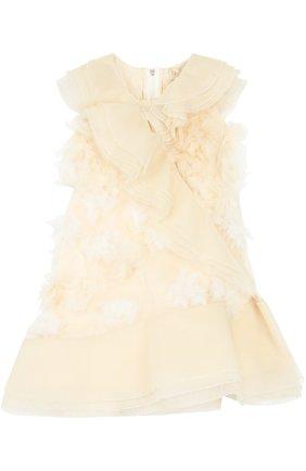 Шелковое мини-платье с оборками   Фото №1