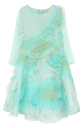 Детское шелковое платье с оборками Quis Quis светло-зеленого цвета | Фото №1