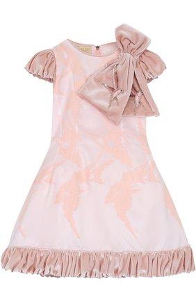 Приталенное платье с бантом и декоративным подолом | Фото №1