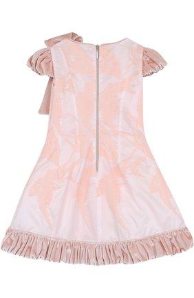 Детское приталенное платье с бантом и декоративным подолом Quis Quis розового цвета | Фото №1