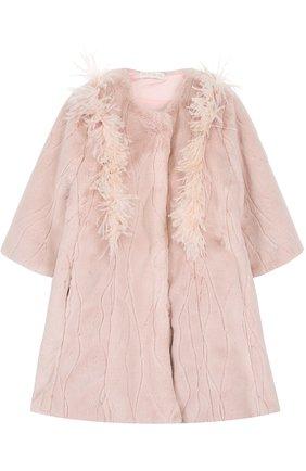 Пальто с декоративной отделкой и круглым вырезом | Фото №1