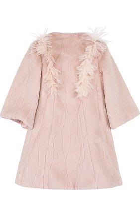 Пальто с декоративной отделкой и круглым вырезом Quis Quis розового цвета | Фото №1