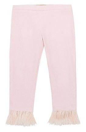 Детские хлопковые брюки с декоративной отделкой Quis Quis розового цвета | Фото №1