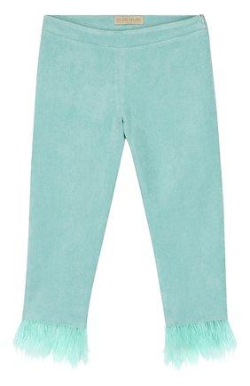 Детские хлопковые брюки с декоративной отделкой Quis Quis светло-зеленого цвета | Фото №1