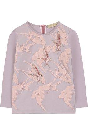 Хлопковая блуза с декоративной вышивкой | Фото №1