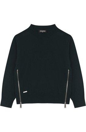 Вязаный пуловер с декоративными молниями   Фото №1