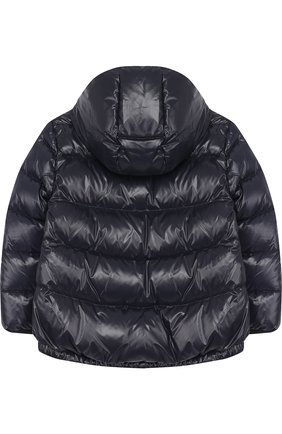 Пуховая куртка с капюшоном Fay Junior темно-синего цвета | Фото №1
