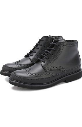 Высокие кожаные ботинки с брогированием на молнии | Фото №1