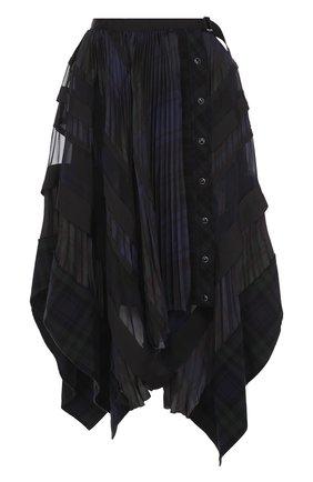 Юбка-миди асимметричного кроя Sacai черная | Фото №1