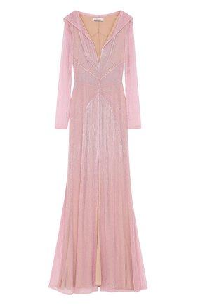 Приталенное платье-макси с высоким разрезом и вышивкой бисером | Фото №1