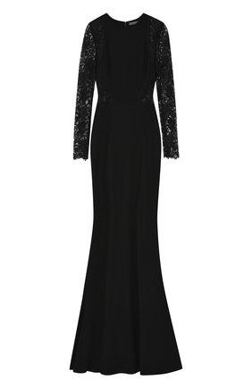 Приталенное платье-макси с кружевными рукавами | Фото №1