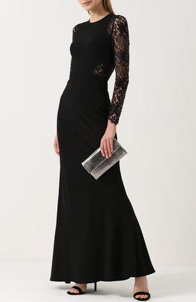 Приталенное платье-макси с кружевными рукавами | Фото №2