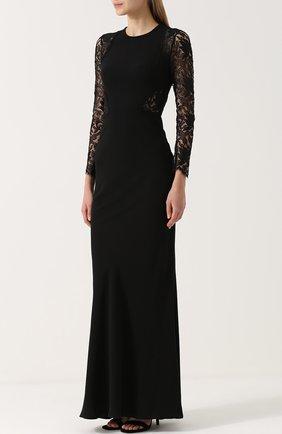 Приталенное платье-макси с кружевными рукавами | Фото №3