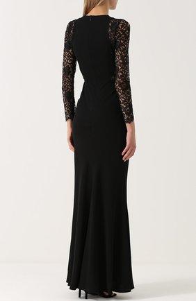 Приталенное платье-макси с кружевными рукавами | Фото №4