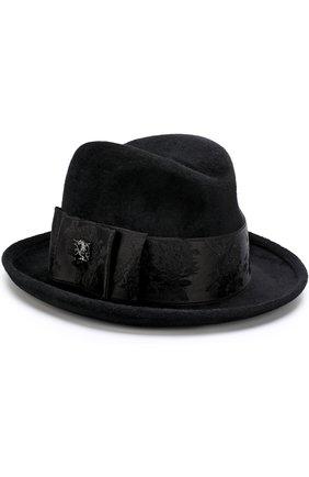 Фетровая шляпа с атласной лентой и брошью | Фото №1