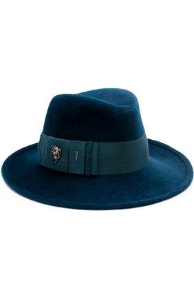 Фетровая шляпа с атласной лентой и брошками | Фото №1