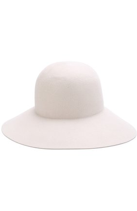 Фетровая шляпа с меховой отделкой Inverni белого цвета   Фото №1