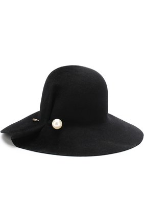 Фетровая шляпа с булавкой Inverni черного цвета   Фото №1
