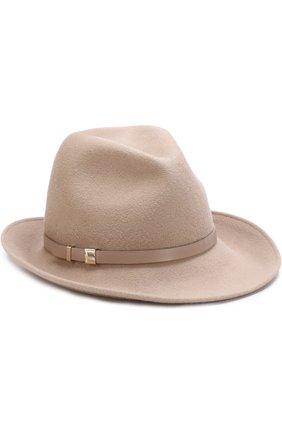 Фетровая шляпа с кожаным ремешком Inverni бежевого цвета   Фото №1