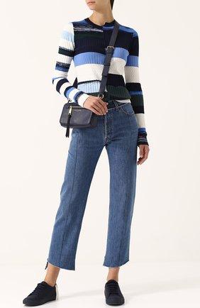 Текстильные кеды с контрастной отделкой на шнуровке THEY New York темно-синие | Фото №1