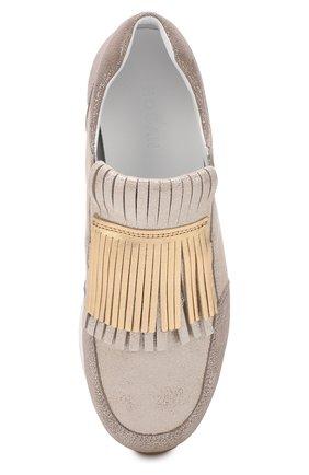 Кроссовки из металлизированной кожи с бахромой | Фото №4