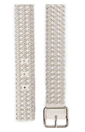 Кожаный ремень с металлической отделкой Alaia белый | Фото №1
