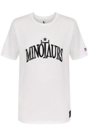 Хлопковая футболка прямого кроя с надписью | Фото №1