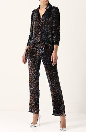Женская бархатная блуза прямого кроя с принтом Equipment, цвет темно-синий, арт. Q3028-E522 в ЦУМ | Фото №1