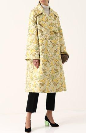 Двубортное пальто свободного кроя с принтом Erdem бежевого цвета | Фото №1