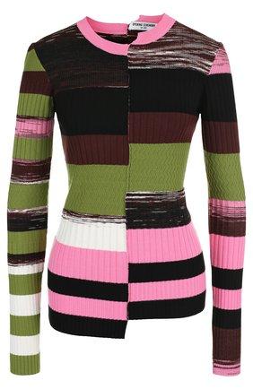 Облегающий пуловер с круглым вырезом и длинным рукавом | Фото №1