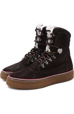 Высокие замшевые ботинки на шнуровке с внутренней меховой отделкой