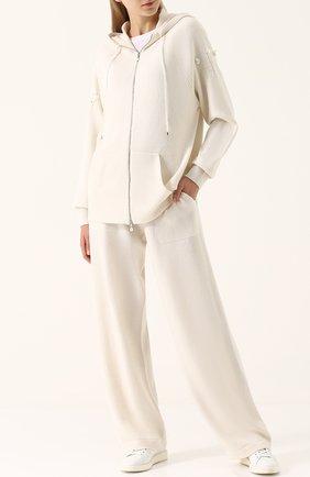 Кашемировые брюки прямого кроя Barrie молочные | Фото №1