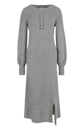 Приталенное кашемировое платье-миди Barrie серое | Фото №1